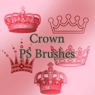5种皇冠、王冠图案Photoshop笔刷素材 皇冠笔刷  adornment brushes