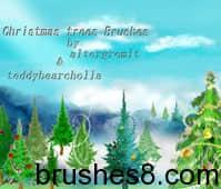 圣诞树笔刷 自然 植物 树木 木材 圣诞节 圣诞树  plants brushes