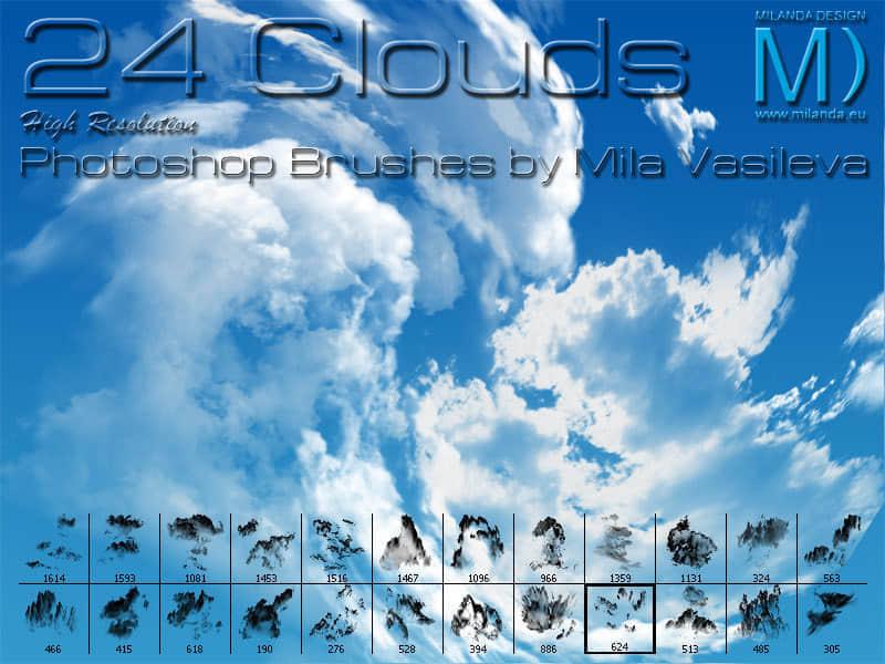 24种极具变化的云朵笔刷