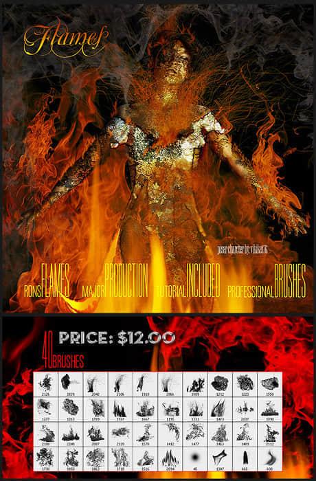 40种燃烧的火焰效果笔刷