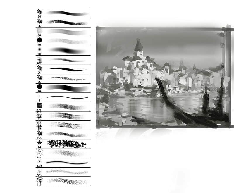 水彩油墨绘画笔刷