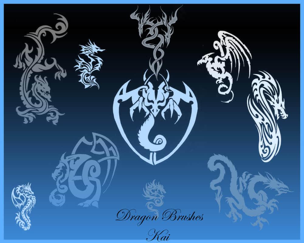 龙型纹饰刺青笔刷