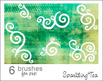卷曲的花纹笔刷 花纹笔刷 印花笔刷  flowers brushes