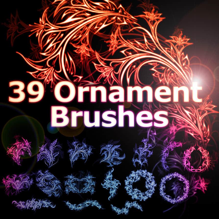 39种漂亮的火焰式流光花纹笔刷