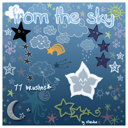 星星月亮云朵可爱的元素装饰笔刷