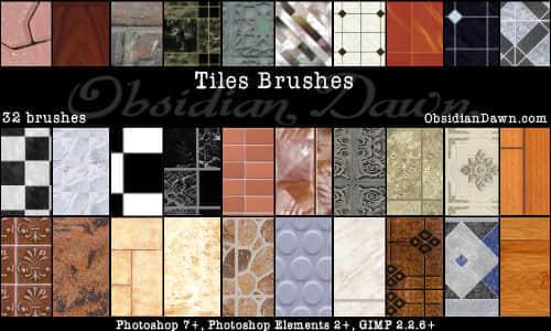 32种各式花样的地板瓷砖笔刷打包下载