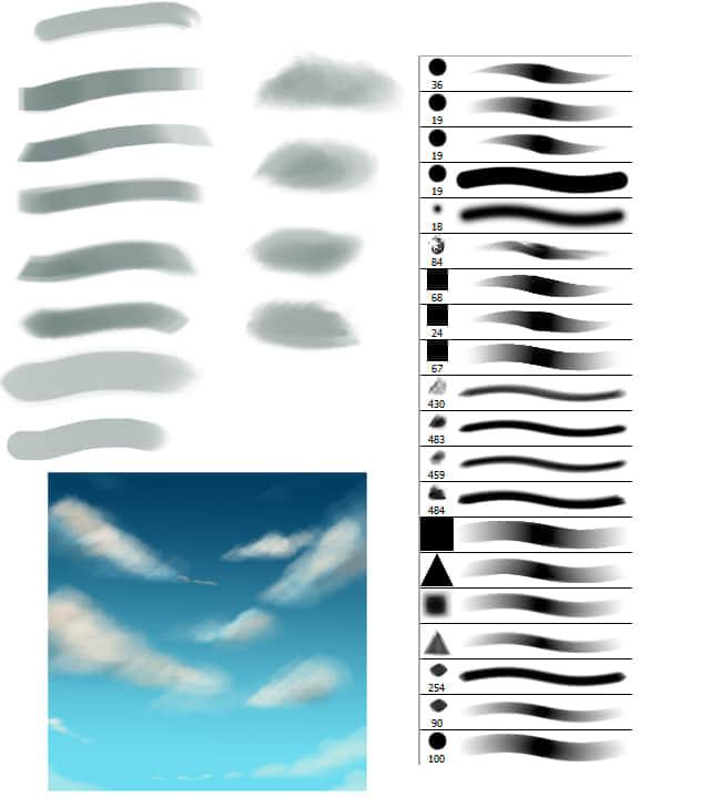 美丽的云彩构造画笔笔刷