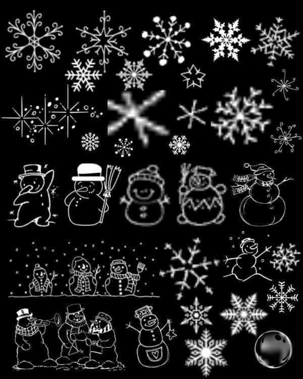 圣诞节线条式雪花雪人笔刷