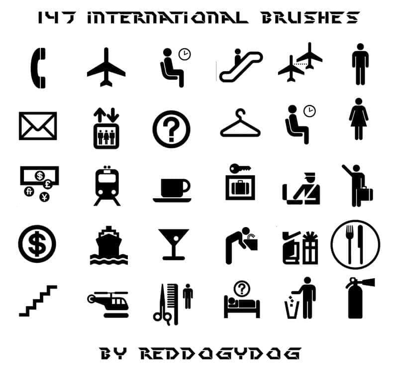 147国际公共图标符号笔刷