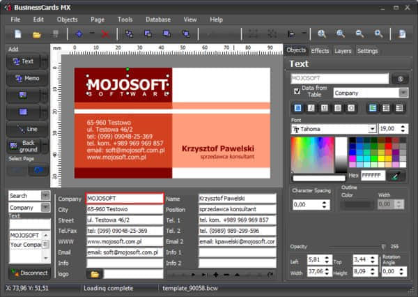 名片制作软件 Mojosoft Software BusinessCards MXv4.72 名片设计软件  ruanjian jiaocheng