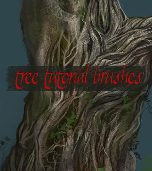 树木躯干纹理笔刷 树皮纹理笔刷 树木笔刷  plants brushes