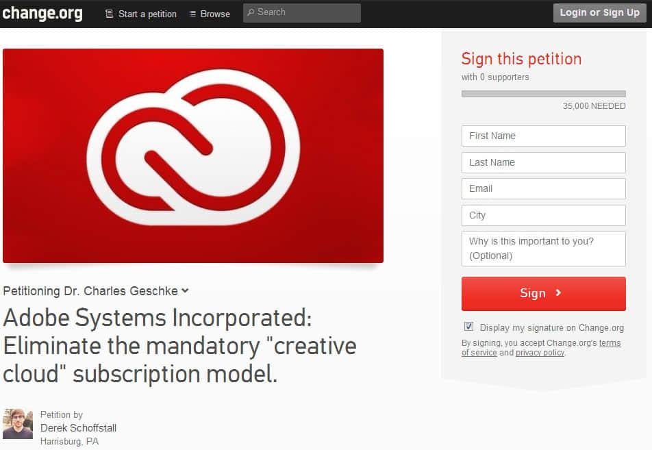 超三万五网友签署请求终止 Adobe 的最新 Creative Cloud 项目 Adobe新闻  design information