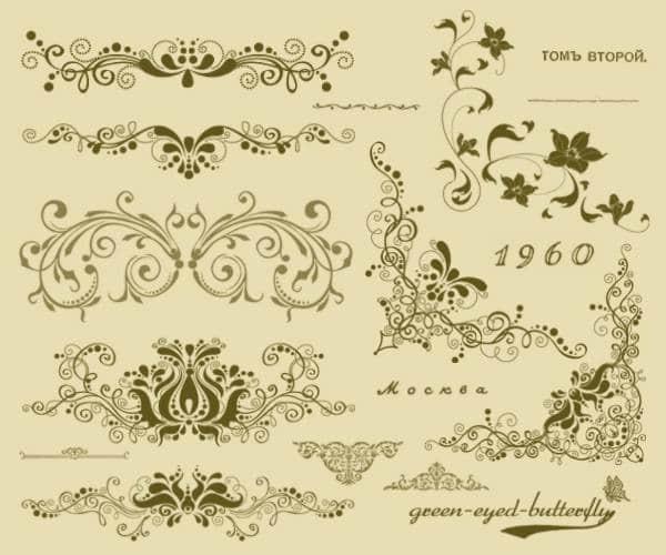 2款经典复古欧式花纹,墙壁印花ps笔刷
