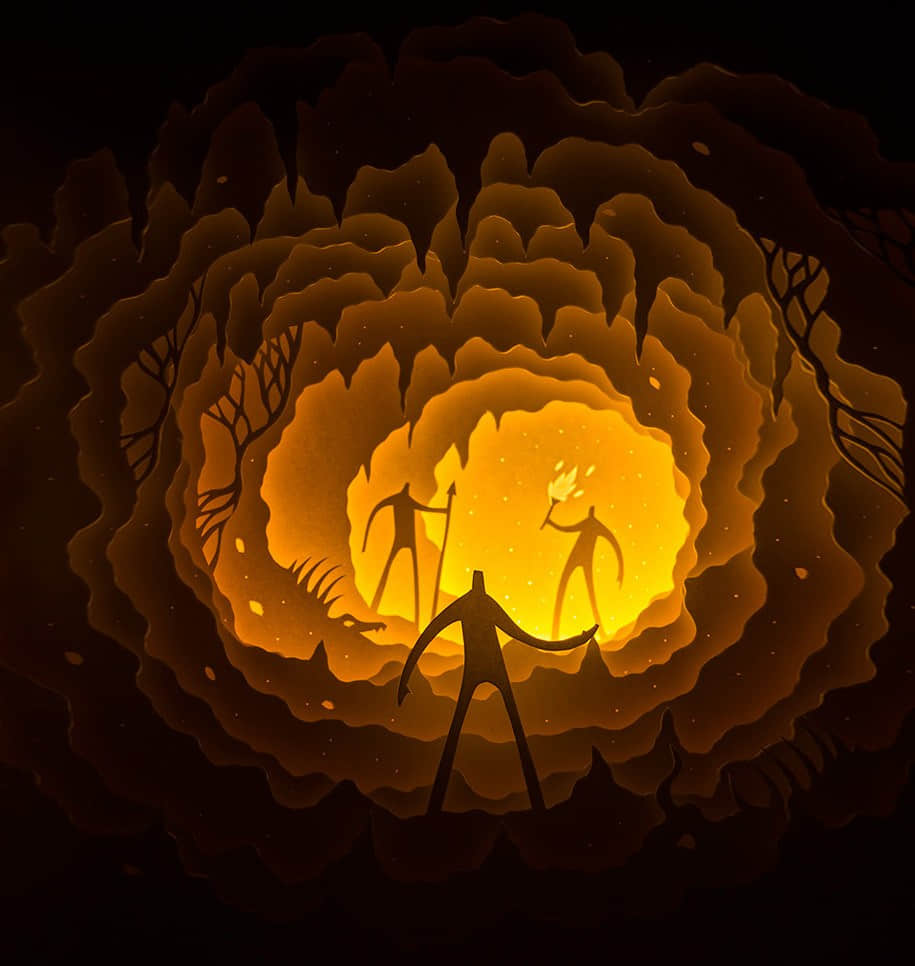 """奇幻光影立体""""剪纸雕塑""""作品欣赏 纸艺术 立体纸片艺术 剪纸艺术  crazy ideas"""