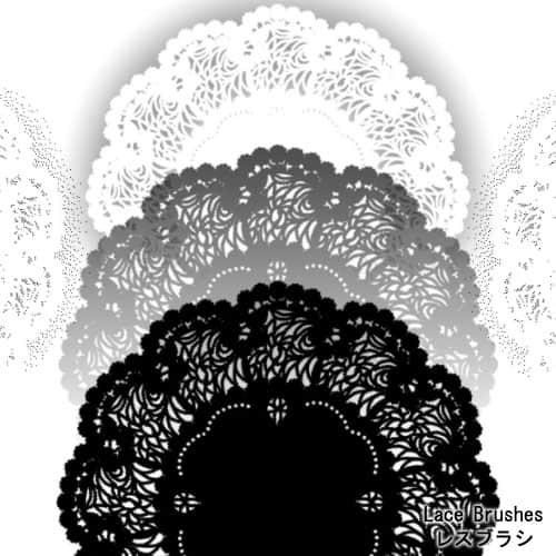 漂亮的罗盘式花边图案Photoshop笔刷素材 罗盘花纹笔刷  flowers brushes