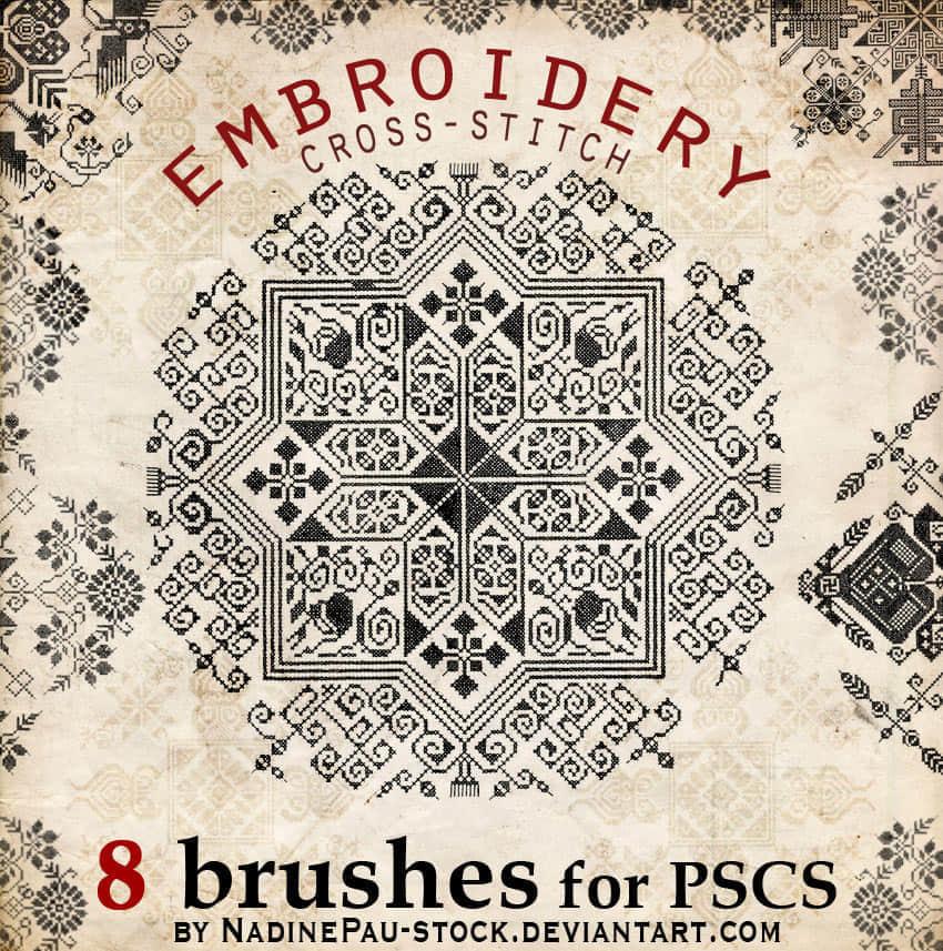 ps_十字绣式地毯古典花纹笔刷图片