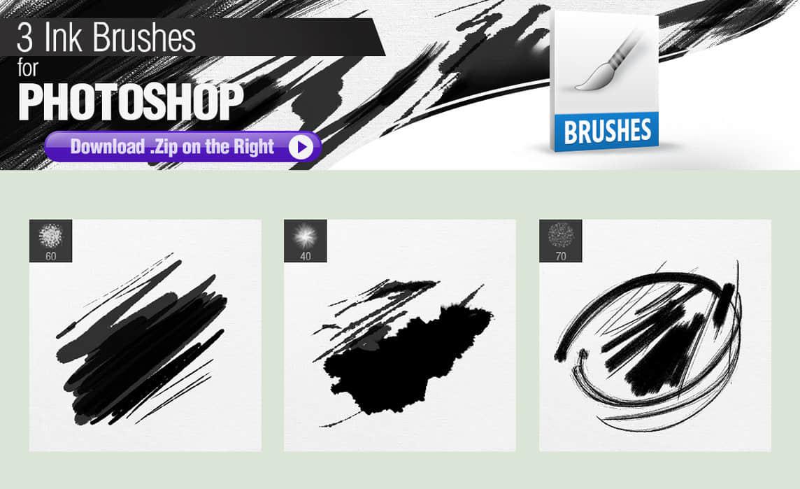 3种墨水划痕Photoshop水墨痕迹笔刷 水墨笔刷 墨水笔刷 刷子笔刷  photoshop brush