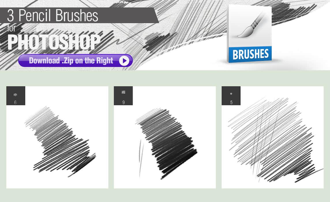 3种铅笔笔触Photoshop画笔笔刷下载 铅笔笔刷 笔触笔刷  photoshop brush