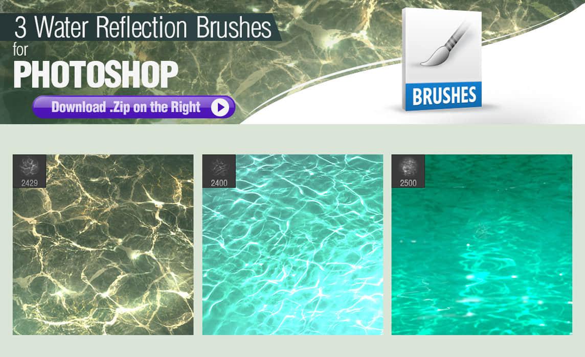 3种水面倒影、水面嶙峋、水纹理Photoshop笔刷素材 纹理笔刷 水面笔刷 水中波纹笔刷 水中倒影笔刷  water brushes