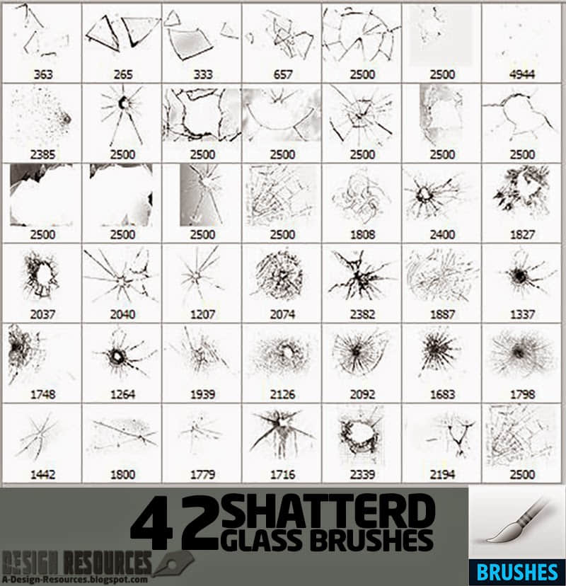 42种玻璃碎片、玻璃弹孔痕迹PS笔刷素材 裂纹笔刷 碎片笔刷 玻璃笔刷 玻璃碎片笔刷 弹孔笔刷  other brushes