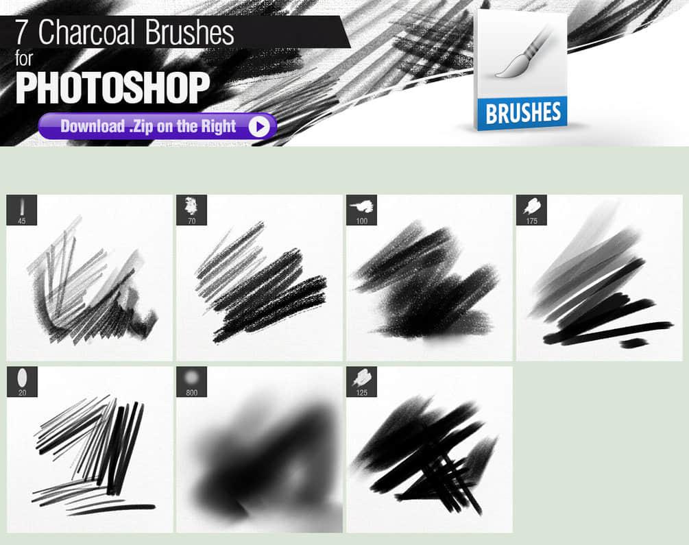 7种木炭笔触、碳笔、铅笔涂抹纹理Photoshop笔刷素材 铅笔笔刷 炭笔笔刷 木炭笔笔刷  photoshop brush