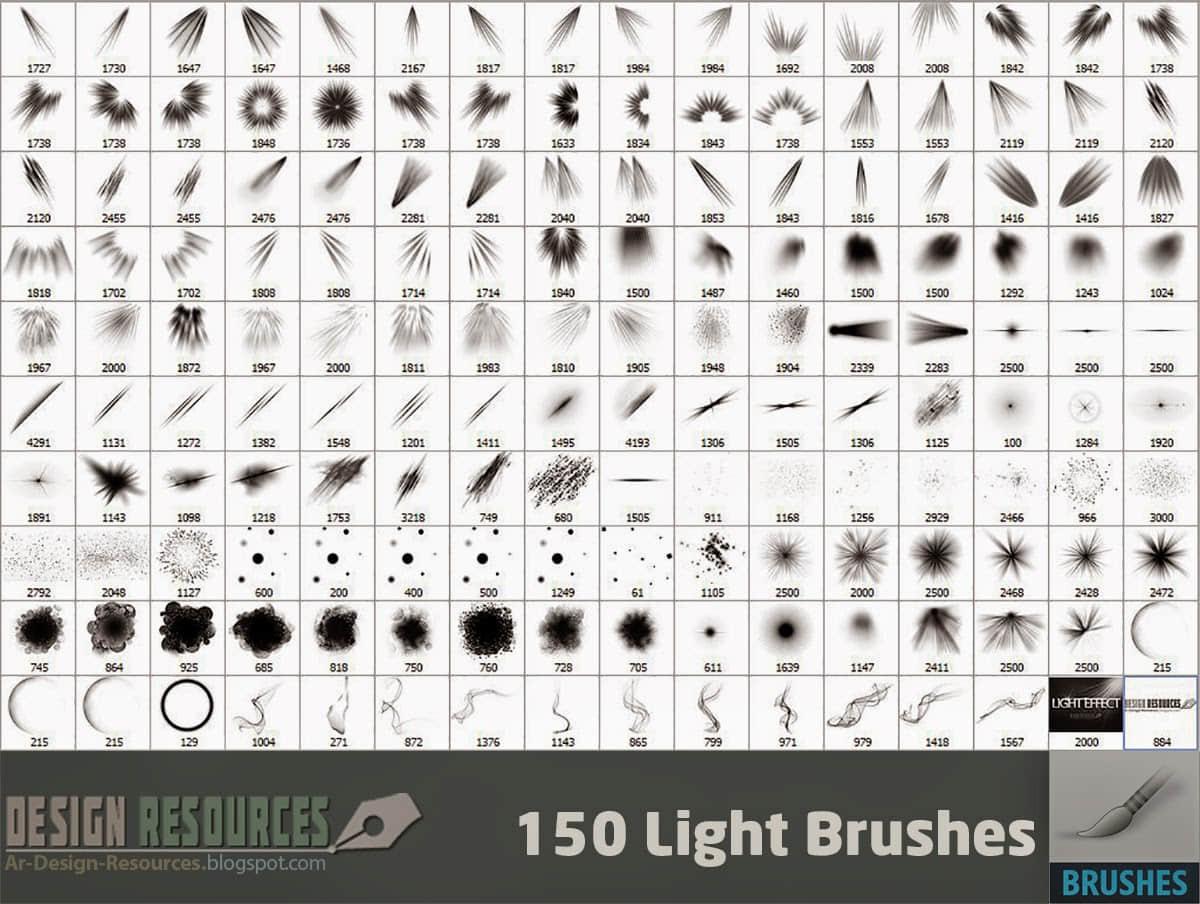 150种光特效、射灯、灯光、光芒照射、阳光等PS笔刷下载 阳光笔刷 灯光笔刷 射灯笔刷 光芒笔刷  light brushes