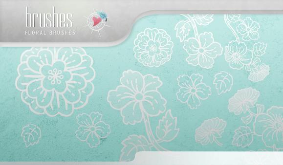 精美手绘鲜花图案、花卉印花PS笔刷 手绘花纹笔刷 印花笔刷  flowers brushes