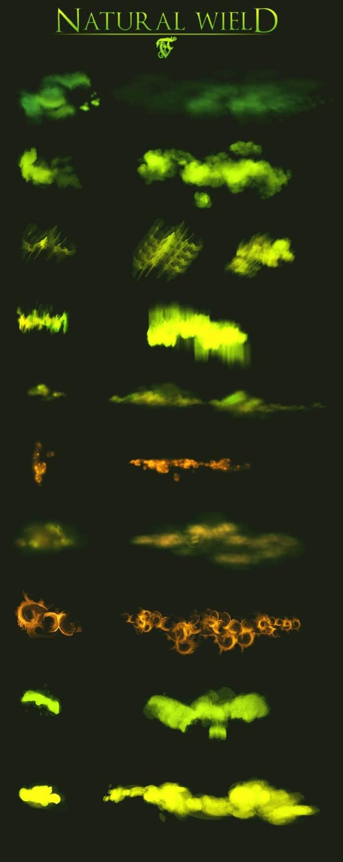 Photoshop烟雾效果、浓雾、极光特效笔刷 雾气笔刷 烟雾笔刷 浓雾笔刷 极光笔刷  flame brushes light brushes