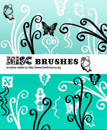漂亮的植物蝴蝶艺术花纹、印花饰品PS笔刷下载 植物花纹笔刷 印花笔刷  flowers brushes