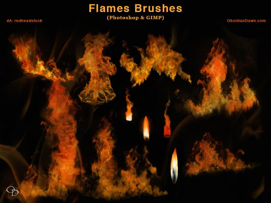 真实的火苗、火焰效果Photoshop笔刷素材 烈火笔刷 火苗笔刷 火光笔刷  flame brushes