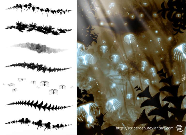 植物装饰阿凡达场景Photoshop笔刷 阿凡达笔刷 圣树笔刷  plants brushes