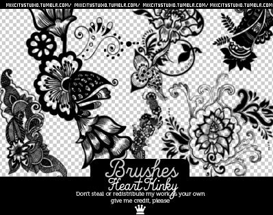 漂亮的植物艺术花纹图案PS笔刷下载 艺术花纹笔刷 植物花纹笔刷  flowers brushes