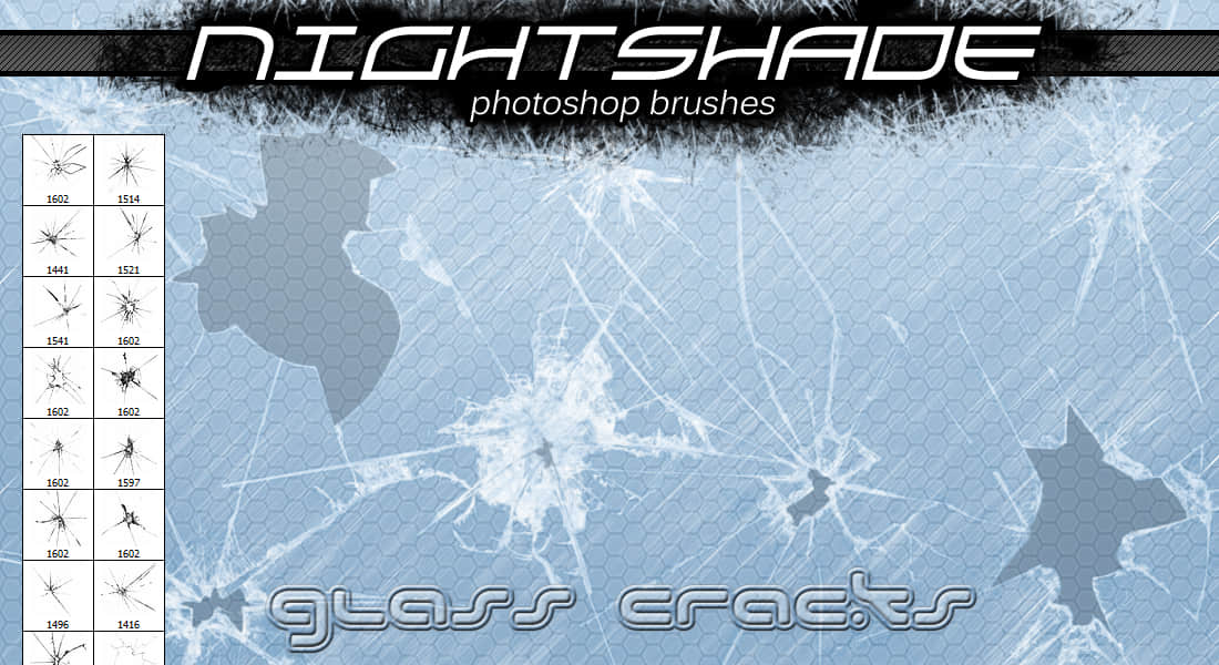 碎玻璃、玻璃裂纹、玻璃弹孔PS笔刷 碎玻璃笔刷 碎片笔刷 玻璃笔刷 弹孔笔刷  other brushes