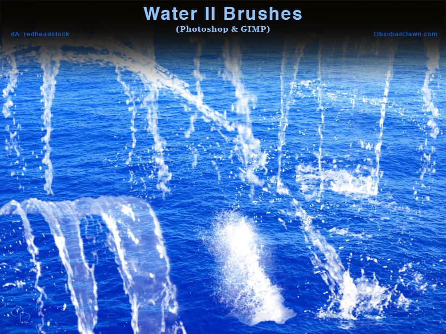 水流、水花Photoshop笔刷素材下载 水花笔刷 水流笔刷  water brushes