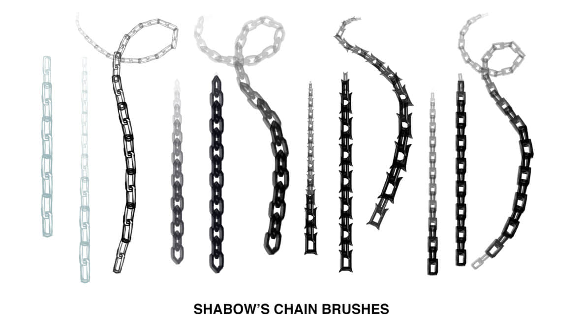 简单的锁链、铁链子Photoshop笔刷素材下载 链条笔刷 链子笔刷 铁链笔刷  other brushes
