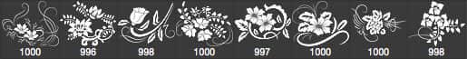 漂亮的手绘鲜花花纹图案Photoshop印花笔刷 鲜花花纹笔刷 鲜花笔刷 花纹笔刷 植物花纹笔刷 手绘花纹笔刷  flowers brushes
