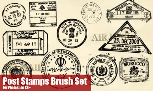 世界各地的信件邮戳Photoshop笔刷素材 邮戳笔刷  symbols brushes