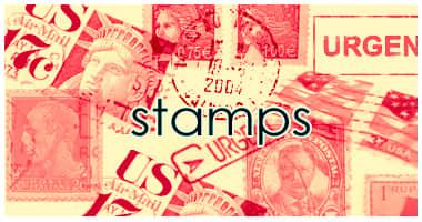 信封上的美国邮票图形Photoshop笔刷素材 邮票笔刷  other brushes