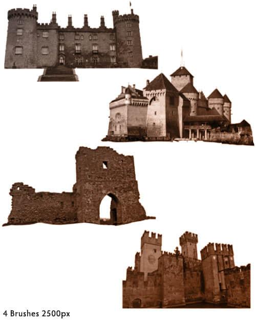 4个欧洲中世纪城堡造型Photoshop笔刷素材 城堡笔刷  %e5%bb%ba%e7%ad%91%e7%ac%94%e5%88%b7