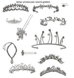 公主女皇的皇冠、王冠Photoshop笔刷下载 饰品笔刷 皇冠笔刷 王冠笔刷 头饰笔刷  adornment brushes characters brushes