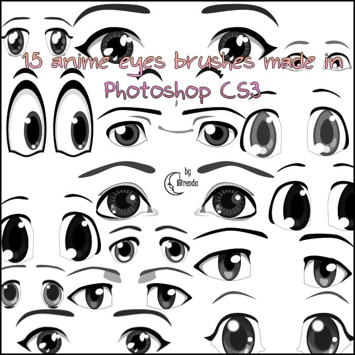 15种动漫、卡通化眼睛Photoshop笔刷素材 眼睛笔刷  characters brushes