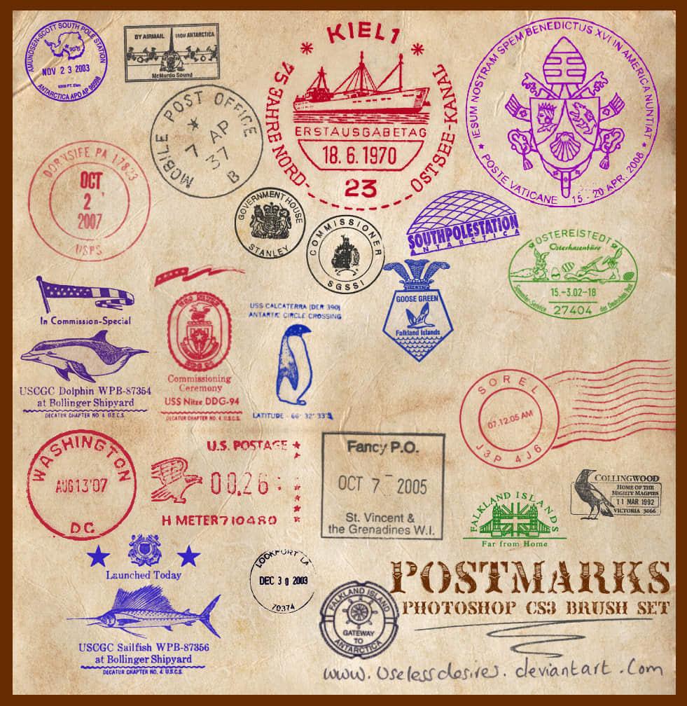 国际邮戳图案PS笔刷素材 邮戳笔刷  symbols brushes