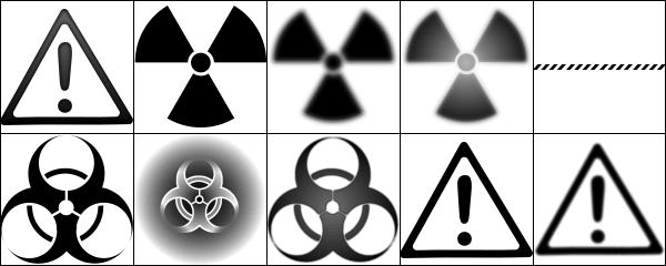 危险标志、核辐射标志、警告标志Photoshop笔刷下载 核辐射符号笔刷 标志笔刷 危险标志笔刷  symbols brushes