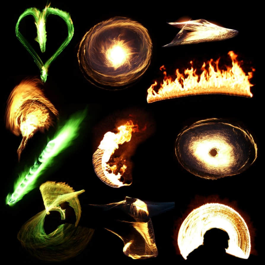 10种火焰光影特效、火圈火球燃烧效果Photoshop笔刷(PNG透明图片素材) 火球笔刷 火焰燃烧笔刷 火光笔刷  flame brushes