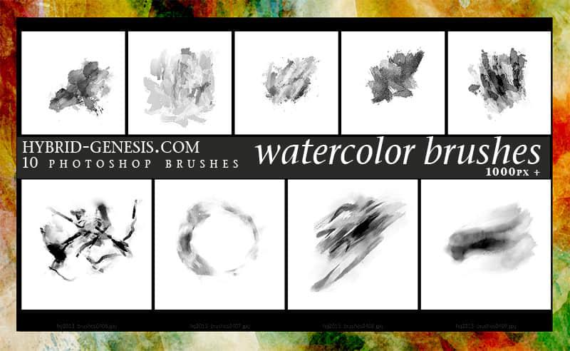 10个高清晰Photoshop水彩画笔笔刷下载 水粉画笔 水彩笔刷  photoshop brush