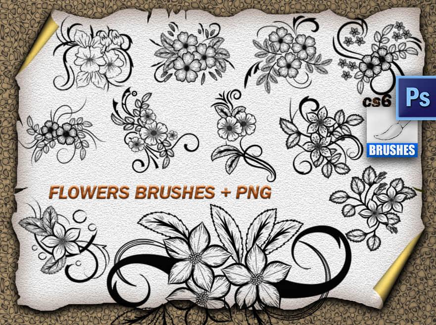 精美漂亮的手绘鲜花图案Photoshop花纹笔刷 鲜花花纹笔刷 植物花纹笔刷 手绘花纹笔刷 印花笔刷  flowers brushes