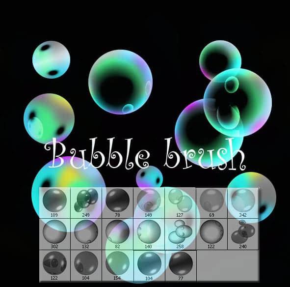 七彩肥皂泡泡、水泡、气泡Photoshop笔刷素材 水泡笔刷 气泡笔刷  water brushes