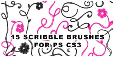 15种手绘线条花纹PS笔刷素材下载 涂鸦花纹笔刷 手绘花纹笔刷  flowers brushes