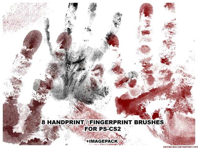 血手印、血手掌PS笔刷素材下载 手掌笔刷 手印笔刷  characters brushes