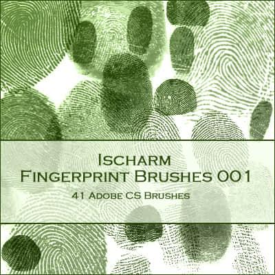 真实的手指指纹Photoshop笔刷素材下载 指纹笔刷  characters brushes
